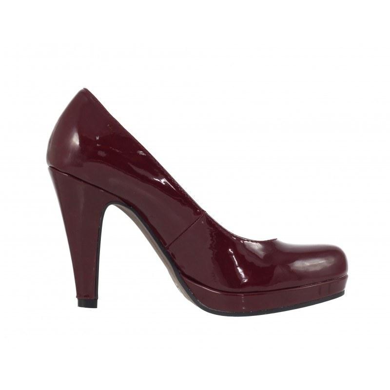 Лачени дамски обувки на висок ток Tamaris вишневи