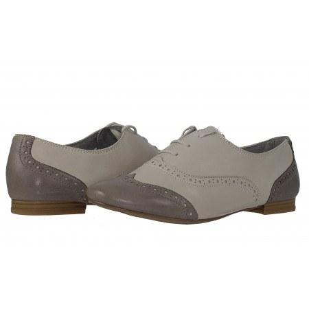 Дамски обувки с връзки бежови/сиви Tamaris Oxford Ballroom