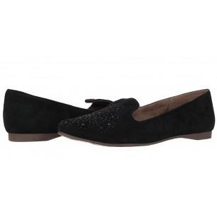 Дамски равни обувки естествен велур Tamaris черни