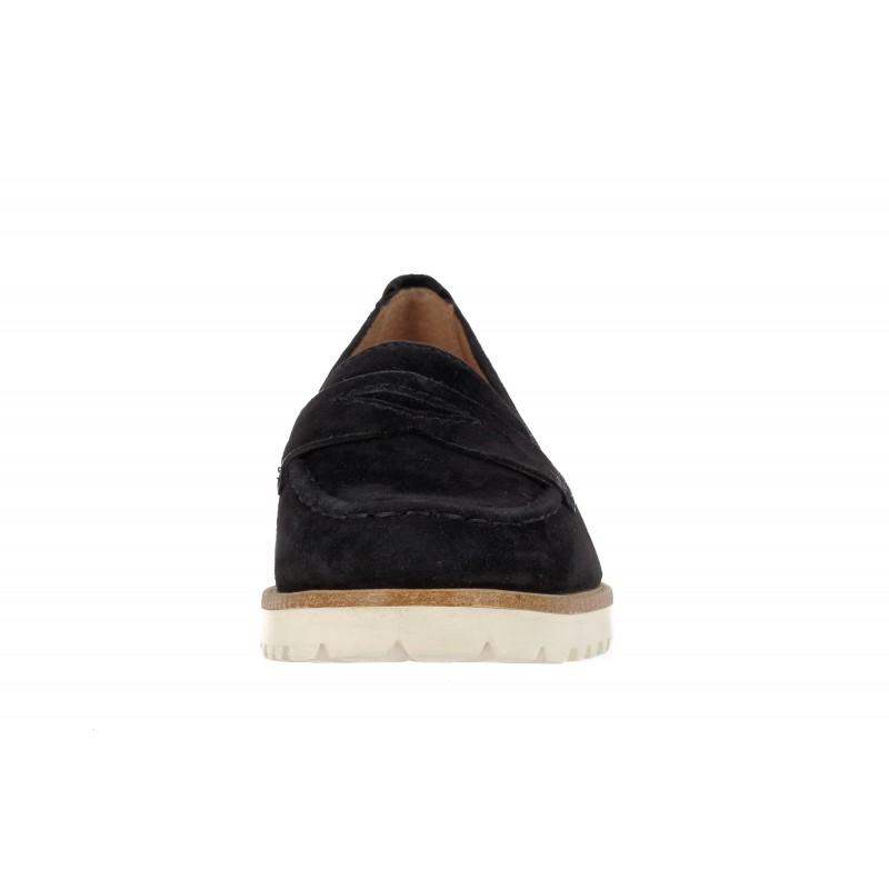 Дамски обувки естествена кожа Tamaris черни loafer