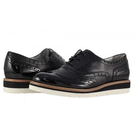 Дамски равни обувки с връзки Tamaris черни мемори пяна