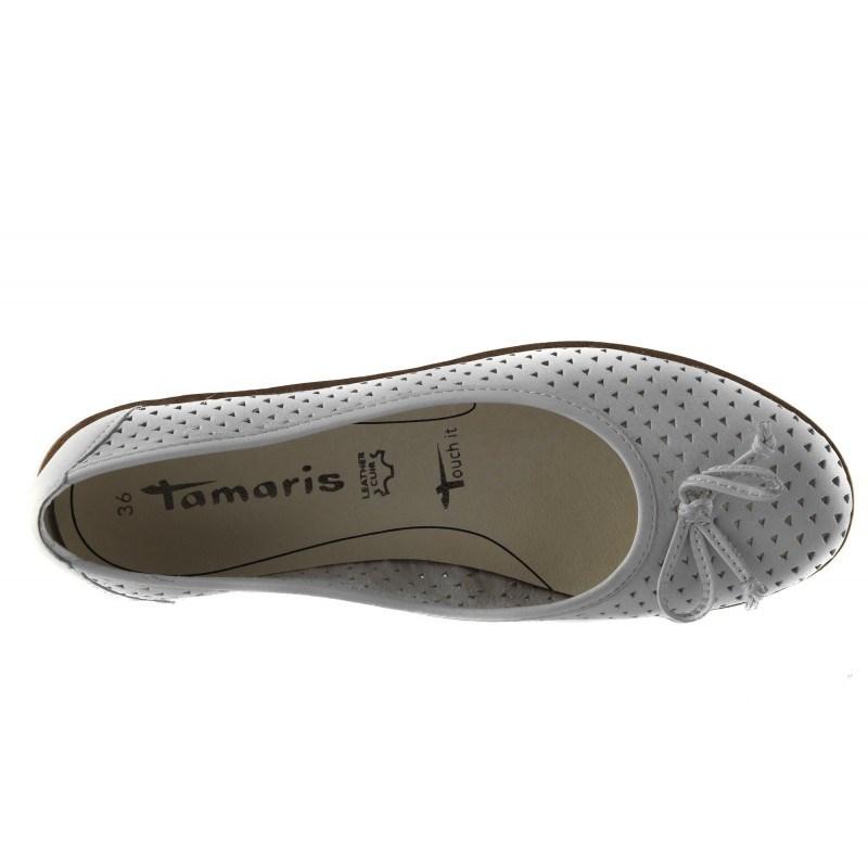 Дамски кожени равни обувки Tamaris бели мемори пяна 24621100