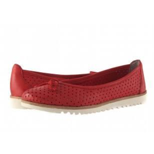 Дамски кожени равни обувки Tamaris червени мемори пяна 24621533