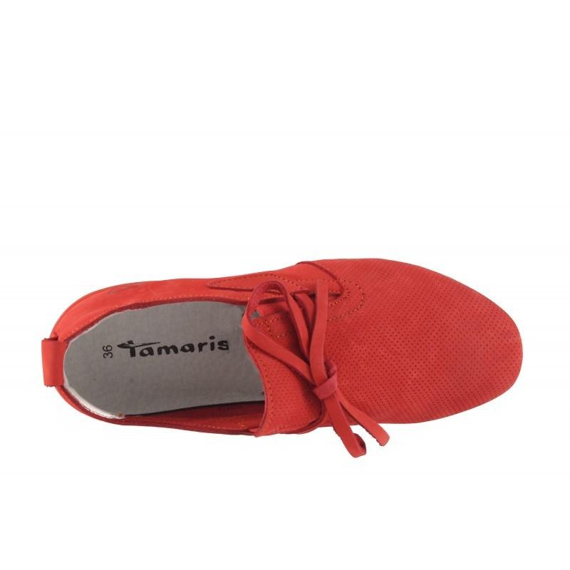 Дамски кожени маратонки Tamaris червени