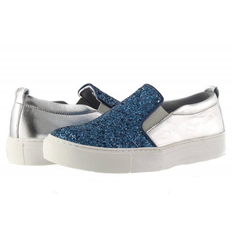 Дамски обувки гуменки от естествена кожа Tamaris сребро и кралско синьо