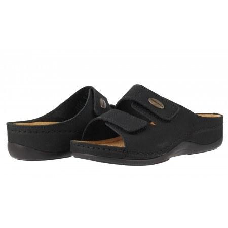 Ортопедични дамски чехли естествена кожа Tamaris черни