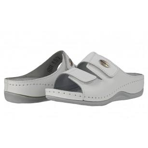 Ортопедични дамски чехли естествена кожа Tamaris бели