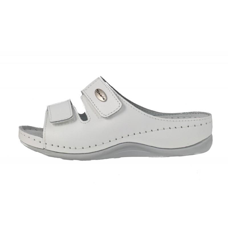 Дамски ортопедични чехли естествена кожа Tamaris бели
