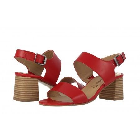 Дамски кожени сандали на ток Tamaris червени