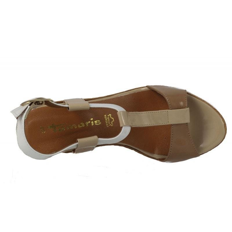 Дамски сандали на платформа Tamaris лачени бели/бежови 28085409