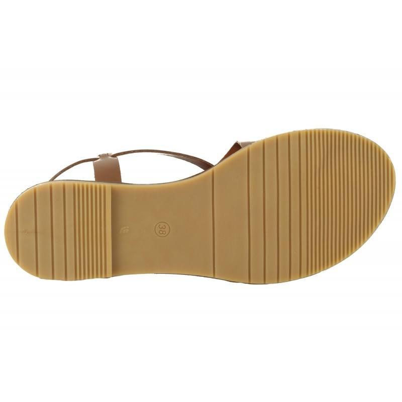 Дамски равни кожени сандали Tamaris кафяви