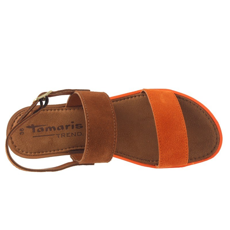 Дамски кожени сандали Tamaris оранжеви