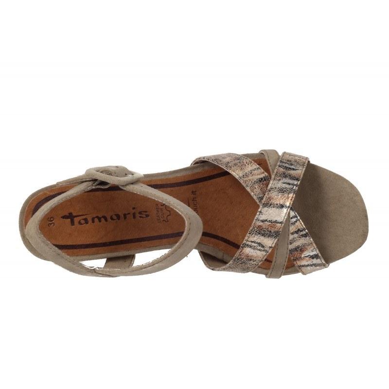 Дамски кожени сандали на платформа Tamaris бежови