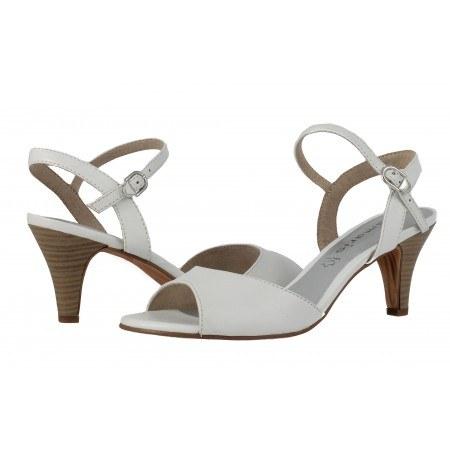 Дамски сандали с тънък ток Tamaris бели