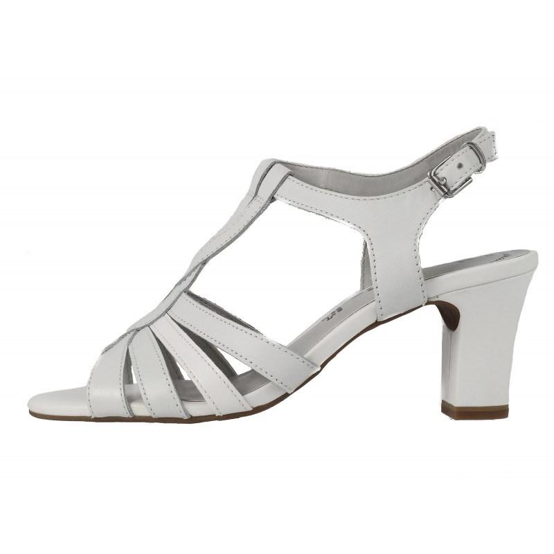Дамски кожени сандали на ток Tamaris бели