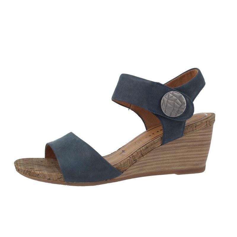 Дамски кожени сандали на платформа Tamaris сини мемори пяна