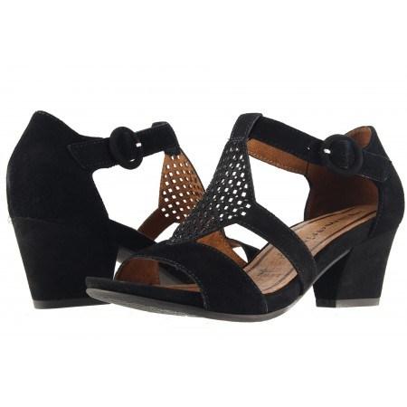 Дамски отворени обувки на ток Tamaris черни