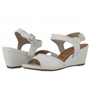 Дамски кожени сандали на платформа Tamaris бели мемори пяна