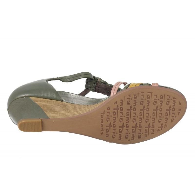 Дамски кожени сандали на платформа Tamaris зелени мемори пяна