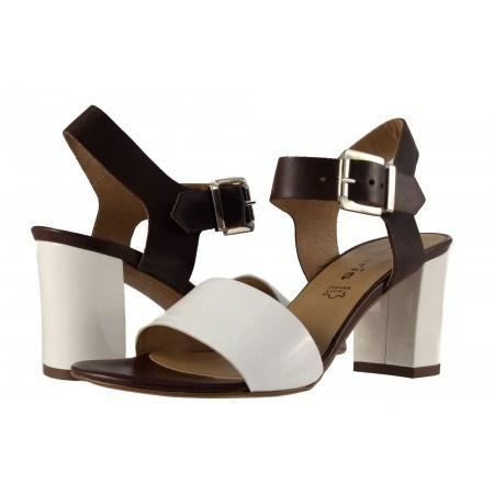 Дамски сандали на ток естествена кожа Tamaris кафяви/бели лачени