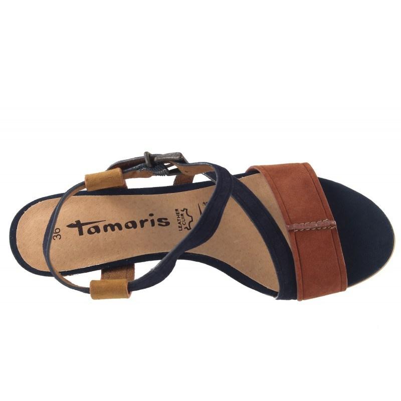 Дамски кожени сандали на ток Tamaris комби 2835026