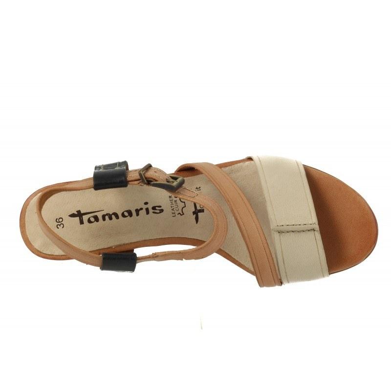 Дамски сандали на ток Tamaris бежов комби