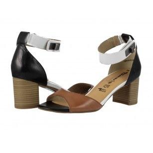 Дамски кожени сандали на ток Tamaris кафяви мемори пяна