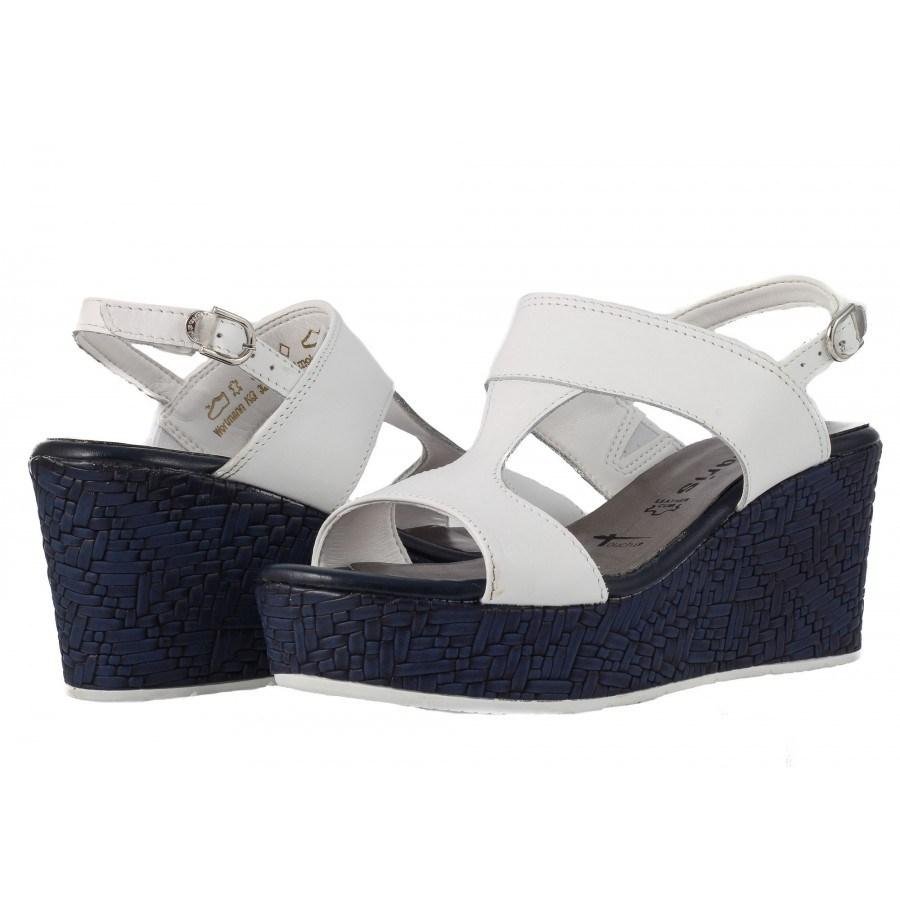 Дамски сандали на платформа Tamaris синьо/бели
