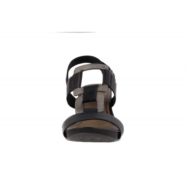 Дамски кожени сандали на платформа Tamaris черни