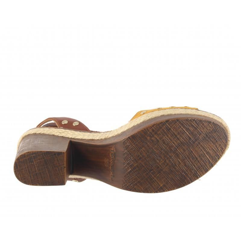 Дамски сандали на ток Tamaris жълти шафран