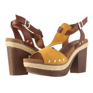 Дамски сандали на ток Tamaris жълти