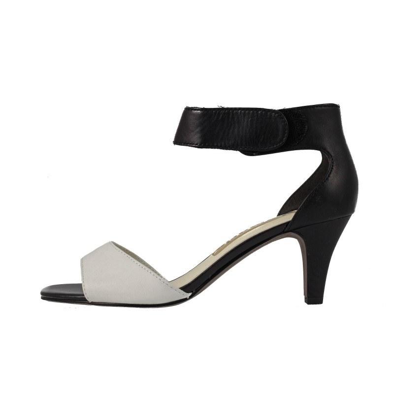 Дамски елегантни сандали на ток Tamaris черно-бели