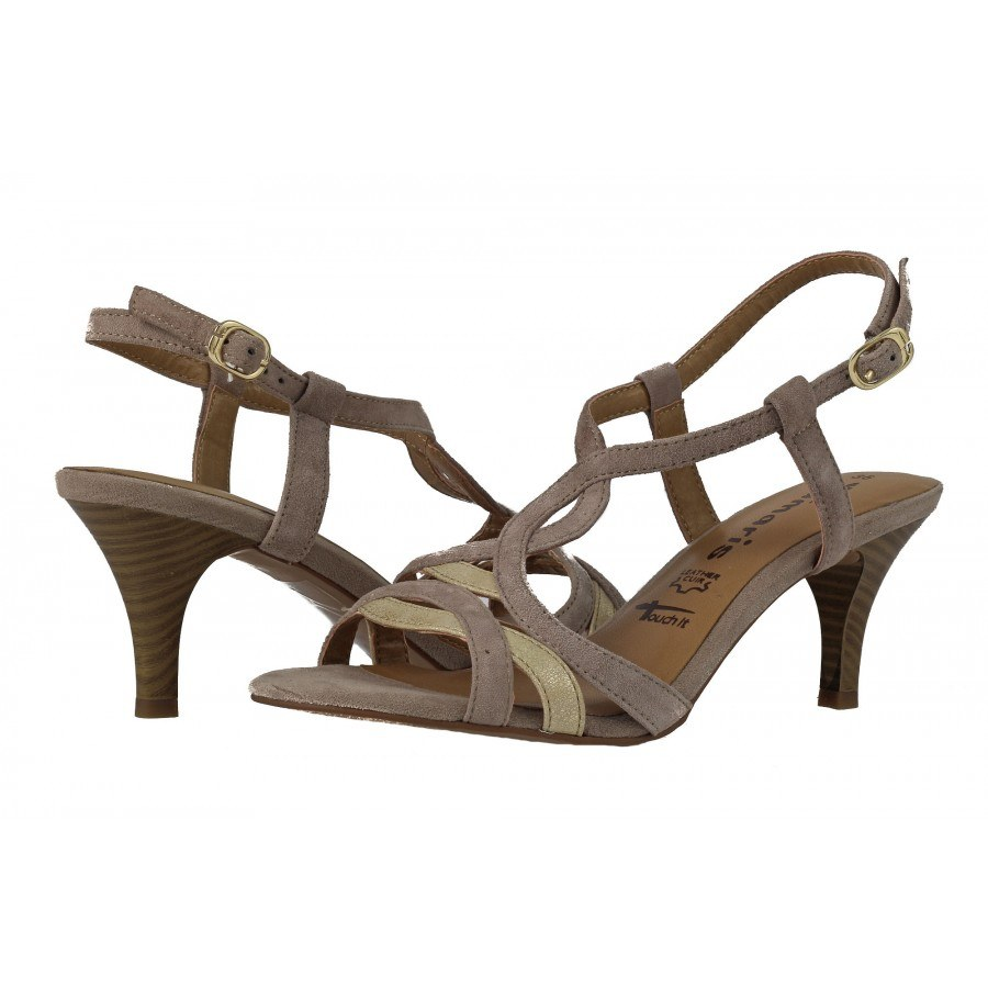 Дамски сандали на ток Tamaris бежови комби