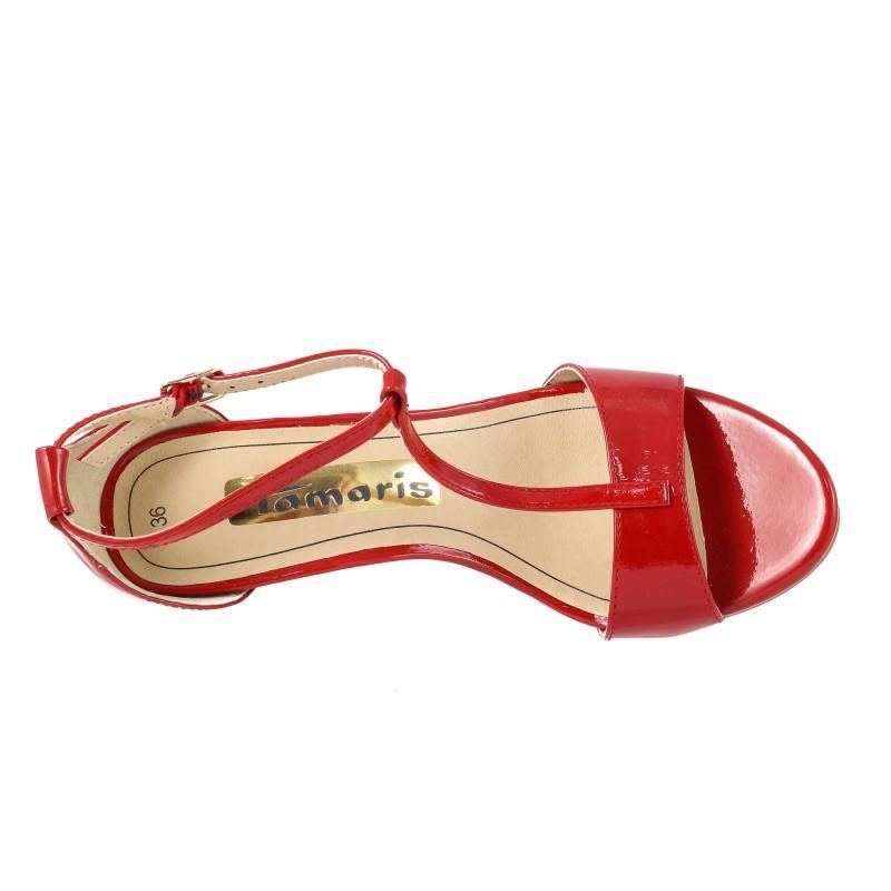 Дамски сандали на висок ток Tamaris червен лак 28392018