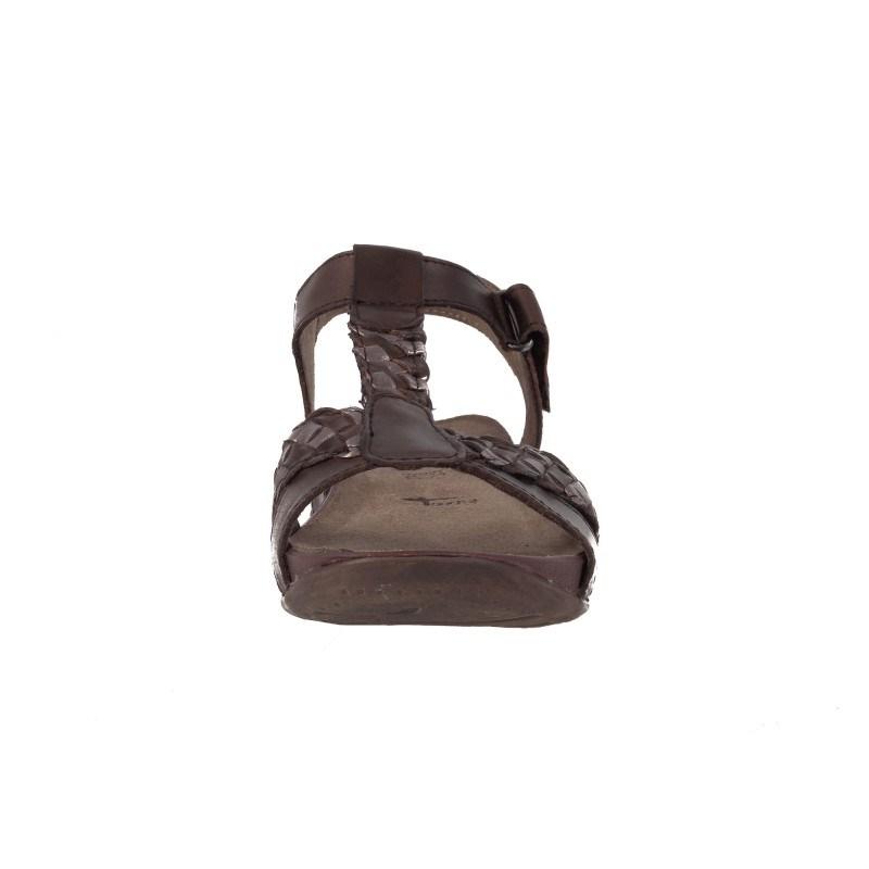 Дамски кожени равни сандали Tamaris кафяви мемори пяна