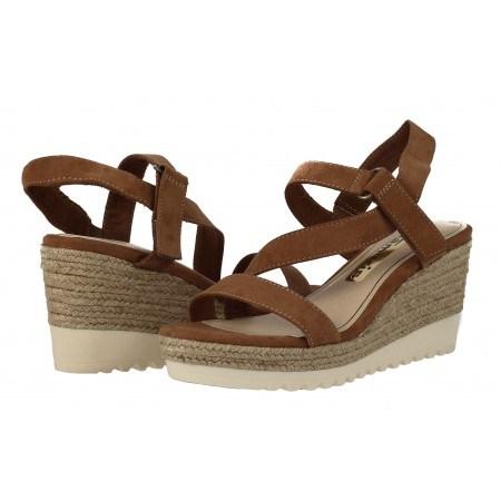 Дамски сандали на платформа еспадрил Tamaris кафяви