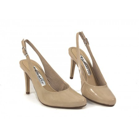 Елегантни лачени дамски сандали на висок ток Tamaris бежови 29609452