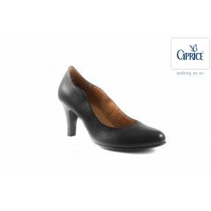 Елегантни кожени обувки на висок ток Caprice черни 22401001
