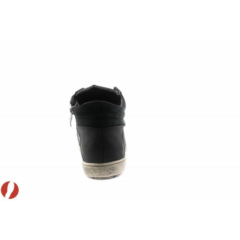 Кожени дамски кецове с цип и връзки Caprice черни/комби 25248019