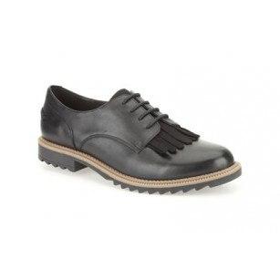 Дамски кожени обувки с връзки Clarks черни Griffin Mabel