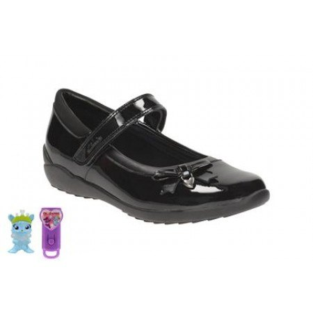 Детски обувки за момиче черен лак Clarks Ting Fever Jnr — Kompass