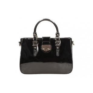 Дамска чанта с две дръжки Clarks черен лак Miss Chantal 26104175