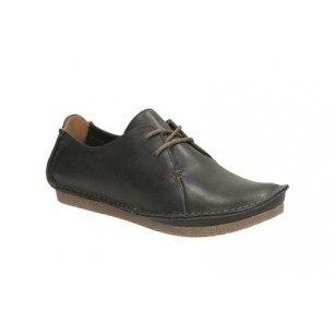 Дамски обувки с връзки на равно ходило Clarks черни Janey Mae