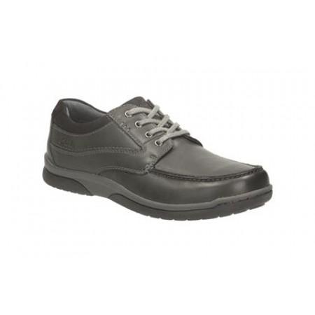 Мъжки кожени обувки с връзки Clarks черни Randle Walk