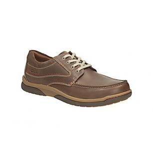 Мъжки кожени обувки с връзки Clarks кафяви Randle Walk