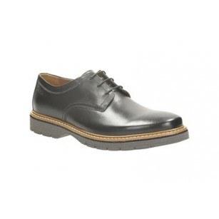 Мъжки кожени обувки с връзки Clarks черни Newkirk Plain