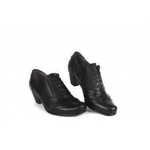Дамски кожени обувки на ток с връзки Jana черни