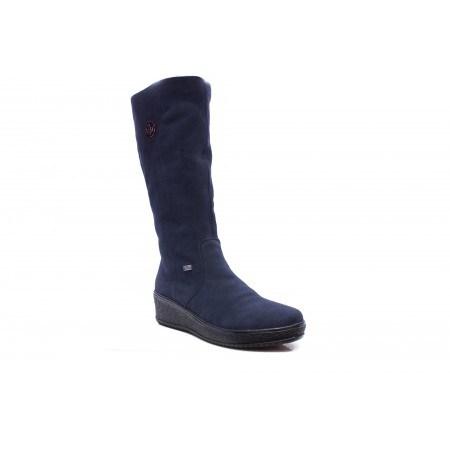 Дамски кожени ботуши на платформа Rieker сини 447014