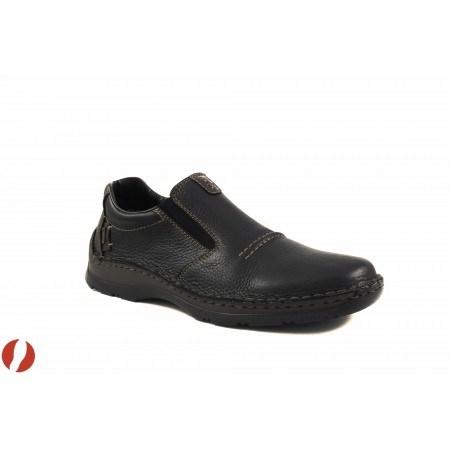 Мъжки кожени обувки без връзки Rieker черни 0536600