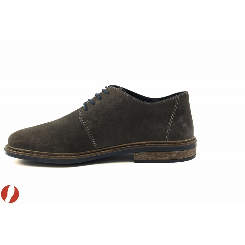 Мъжки кожени обувки с връзки Rieker сиви велур 1762242